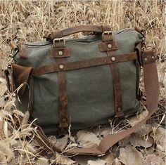 Gray  Leisure men's and women's single shoulder bag Leather Canvas Messenger Bag  Washed Canvas Bag  Leather Bag  Laptop Bag  9650 on Etsy, $56.00