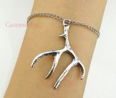 Silver Antler/Deer Horn Pendant bracelet In by CustomizeEra, $1.99