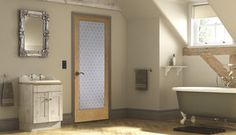 Change up your bathroom with a frosted door.