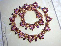 Tutorial - Inka Necklace - Diamond Duo, Honeycomb, Super Duo and Swarovski beads beading tutorial Unique Bracelets, Unique Necklaces, Beaded Necklaces, Super Duo Beads, Necklace Tutorial, Beading Tutorials, Beading Projects, Bead Weaving, Crystal Beads
