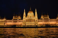 Parliament Building. Budapest Hungary.  Night cruise on the Danube.