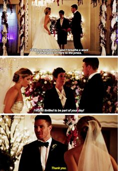 """""""I'm just thrilled to be part of your day!"""" - Officiant, Oliver and Felicity #Arrow"""