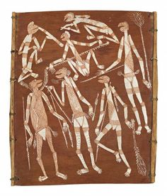 DICK NGULEINGULEI MURRAMURRA MIMIHS, c1965 40.0 x 34.0 cm natural earth pigments on eucalyptus bark