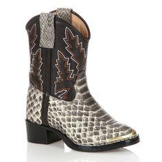 Lil Durango Baby Snake Print Cowboy Boots, Boy's, Size: 11, Grey