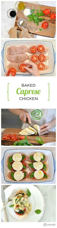Baked Caprese Chicken - Fresh mozzarella cheese lends a fancy-on-a-budget feel to this recipe, but if you're short on prep time, you can substitute preshredded mozzarella in its place. Baked Caprese Chicken, Cooking Recipes, Healthy Recipes, Recipes On A Budget, Crockpot Recipes, Vegetarian Recipes, I Love Food, Chicken Recipes, Potato Recipes