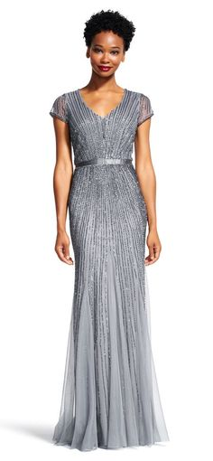 Adrianna Papell   Sheer Short Sleeve Godet Dress with Line Beading