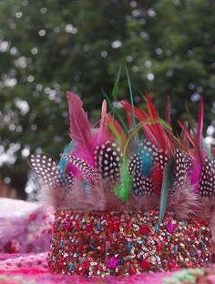 Festival indian boho feathers headdress, party, camping, holidays.