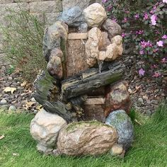 #Cascading #WaterFountain #LEDLight #Electric #Garden #Rock&Wood #Patio #Yard  #CascadingWaterFountain