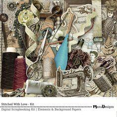 Digital Scrapbooking Kit Vintage Sewing by ManuDesignStudio Vintage Scrapbook, Scrapbook Albums, Scrapbook Designs, Scrapbook Supplies, Yarn Winder, Wool Thread, Sewing Kit, Tiny Flowers, Old Paper
