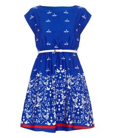 Another great find on #zulily! Blue & White Lovebird Belted A-Line Dress by Iska London #zulilyfinds