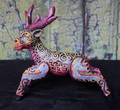Psychedelic Deer, Ceramic Alebrijes by Jose Aguilar of Oaxaca, Mexican Folk Art