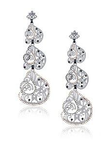 LK Designs Swirl Earrings, Gunmetal Silk