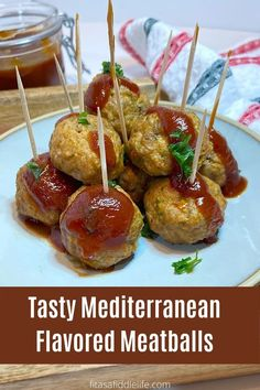 Mediterranean meatballs make a perfect appetizer. They are baked and low carb, Drizzle with sauce rather than soaking in sauce for extra flavor. fitasafiddlelife.com Healthy Food, Healthy Recipes, Side Dishes, Food Ideas, Spices, Appetizers, Low Carb, Soup, Tasty