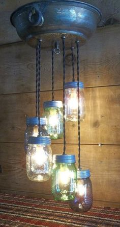 "Mason Jar Light Fixture-24""L-Ceiling Mount-Copper Tin Lid~Rustic 6 Jar Light"