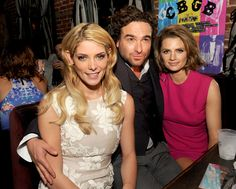 Ashley Greene, Johnny Galecki and Stana Katic pose at the after party for the screening of XLrator Media's 'CBGB' at Hemmingway's on October 1, 2013 in Los Angeles, California.