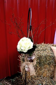 Rustic hydrangea in Mason Jar county wedding decor. Traci and Eric's wedding at Hampton Road Farms. Floral Wedding, Fall Wedding, Our Wedding, Dream Wedding, Wedding Stuff, Wedding Themes, Wedding Decorations, Wedding Vowels, Big Red Barn