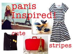 inspired by paris! They love their stripes. And I want that gold eiffel tower!