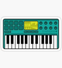 'Synth Midi Controller - Aqua' Sticker by Chocolate Drawing, Day6, Laptop Stickers, Sticker Design, Aqua, Clip Art, Laptop Case, Musical Instruments, Keychains
