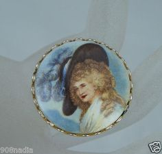 #Vintage #Jewelry VINTAGE BROOCH/PIN GOLD TONE,PORCELAIN,FRENCH WOMAN PORTRAIT,MADAM POMPADOUR ? #Christmas #Gifts