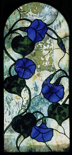 Blue Morning Glories stained glass window by Maid on the Moon Studio