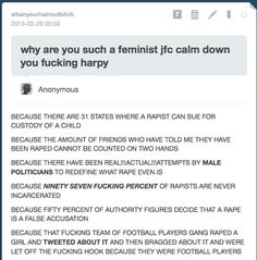 (1/2) I can risk being called an angry feminist, because I'm a feminist, and I'm angry, for real reasons that are being ignored - Imgur