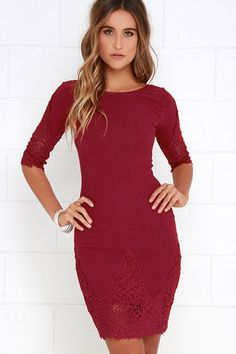 Myriad of Possibilities Wine Red Lace Dress