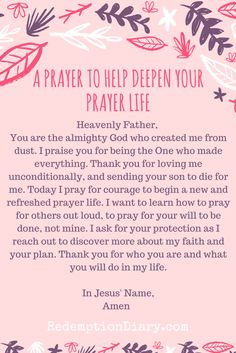 Morning Prayer: A prayer to Help Deepen Your Prayer Life. Yes I pray this in Jesus Christ name AMEN ❤️ Prayer Scriptures, Bible Prayers, Faith Prayer, God Prayer, Prayer Quotes, Power Of Prayer, Bible Quotes, Holy Spirit Prayer, Spiritual Prayers