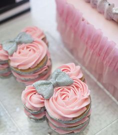Incredible cookie stacks at a Minnie Mouse birthday party! See more party planning ideas at CatchMyParty.com!