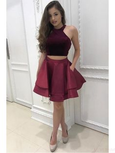 On Sale Dazzling Two Pieces Homecoming Dresses Two Pieces Halter Homecoming Dress Burgundy Short Prom Dress Party Dress Burgundy Homecoming Dresses, Cheap Homecoming Dresses, Hoco Dresses, Prom Party Dresses, Dresses For Teens, Cheap Dresses, Sexy Dresses, Graduation Dresses, Party Gowns