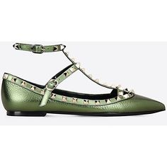 Valentino Garavani Rockstud Ballerina ($715) ❤ liked on Polyvore featuring shoes, flats, green, studded flats, valentino shoes, ballerina flat shoes, green ballet flats and ankle wrap flats