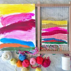 Colorful weaving project for kids.