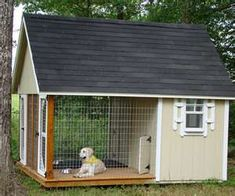 Okay, not this big... Not this extravagant... But an idea for kennel area with house/fenced area (want entrance from garage)  its doable!