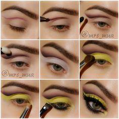 Yellow and plum cut crease makeup  #makeup #tutorial #evatornadoblog #stepbystep #mycollection