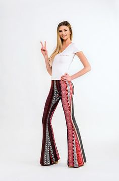 Charlotte Festival Bell Bottoms by BOHOGINI. Colorful stripes bell pants with elastic waistline and high waisted. Made with Love in Poland. Shop anywhere, ship everywhere - WORLDWIDE SHIPPING !!! WWW.BOHOGINI.COM