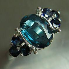 2ct Natural Kyanite Ocean Blue oval cut & blue sapphires by EVGAD