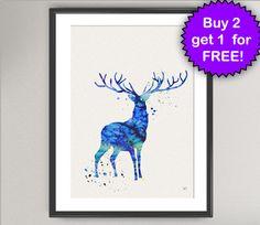 STAG Nº1 Watercolor Art Print - Animal Deer Ink Painting illustrations Art Print 8x10 Wall Art Poster Giclée Wall Decor Art Home