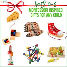 If you're looking for Christmas presents that will encourage your baby or youngsters' development? Consider these #MontessoriInspiredGifts specifically for children up to six years old. #MontessoriRocks