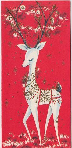 Vintage Greeting Card Christmas V Reindeer Glitter Deer Mid Century