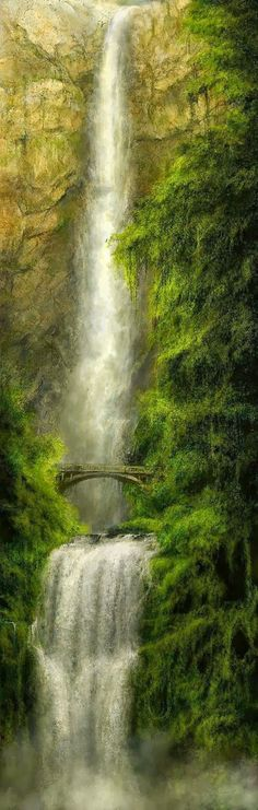 Multnomah Falls, Columbia River Gorge. Real place, just LOOKS like a fantasy location! :-)