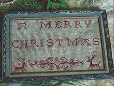 Primitive Folk Art Cross Stitch Pattern:  A MERRY CHRISTMAS Redwork Sampler -- Two projects. $10.95, via Etsy.