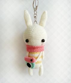 Crochet Bunny Instagram Keychain, Crochet Keychain, Amigurumi Bunny Plush Keychain, Bunny Gift, Back to School Gift, Gift for Her Meet Lola ♥ She measures approximately 5 inches tall, 1 3/4 inches wide (head) and is hand crocheted with delicate details using 100% mercerized cotton crochet thread. Stuffed with polyester fibre fill and made with care in a pet free and smoke free environment. Attached to a lobster clasp with swivel chain for firm grip, convenient grappling and hanging. Celeb...