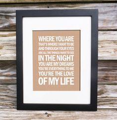 Love Of My Life - Dave Matthews Band Song Lyric Print  - typography subway style 11x14 - custom colors on Etsy, $18.00