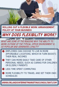 Considering the benefits of a more flexible work arrangement for employees of your company? We're big believers that flexible work arrangeme(.
