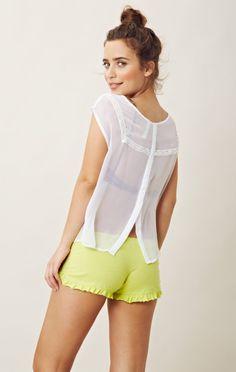 Gypsy Junkies Silk Sheer Bayshore Sleeveless Blouse In White