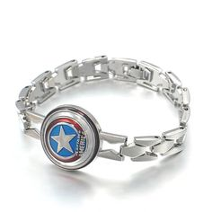 Get ready for the new Captain America: Civil War movie with this awesome silver bracelet replica of Captain America's indestructible Vibranium alloy shield! Show your support for the first Avenger! Bu