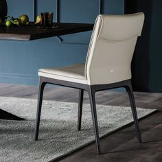 Sofia leather upholstered wooden chair - DIOTTI.COM Modern Rustic Furniture, Contemporary Furniture Stores, Luxury Italian Furniture, Antique Furniture, Wooden Furniture, Cabin Furniture, Contemporary Chairs, Furniture Logo, Furniture Companies