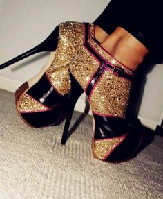 Awesome boots! gold glitter!