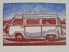 """Bright Day Combi"" linocut by Paddy Hamilton. http://paddyhamiltonstudios.blogspot.co.uk/ Tags: Linocut, Cut, Print, Linoleum, Lino, Carving, Block, Woodcut, Helen Elstone, Combi, Campervan, Vehicle."