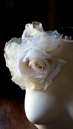 Silk and Velvet Millinery Rose in Ivory & Pink for Bridal, Derby, Ascot, Bouquets, Sashes, Costumes, Fascinators MF 137 - 4873