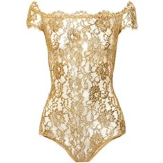 I.D. Sarrieri Rhapsody metallic lace bodysuit, Gold, Women's, Size: XS ($365) ❤ liked on Polyvore featuring intimates, shapewear, tops, bodysuits, lingerie, body e underwear